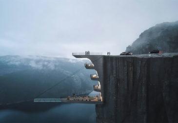 Стеклянный бассейн над норвежским фьордом для создания острых ощущений